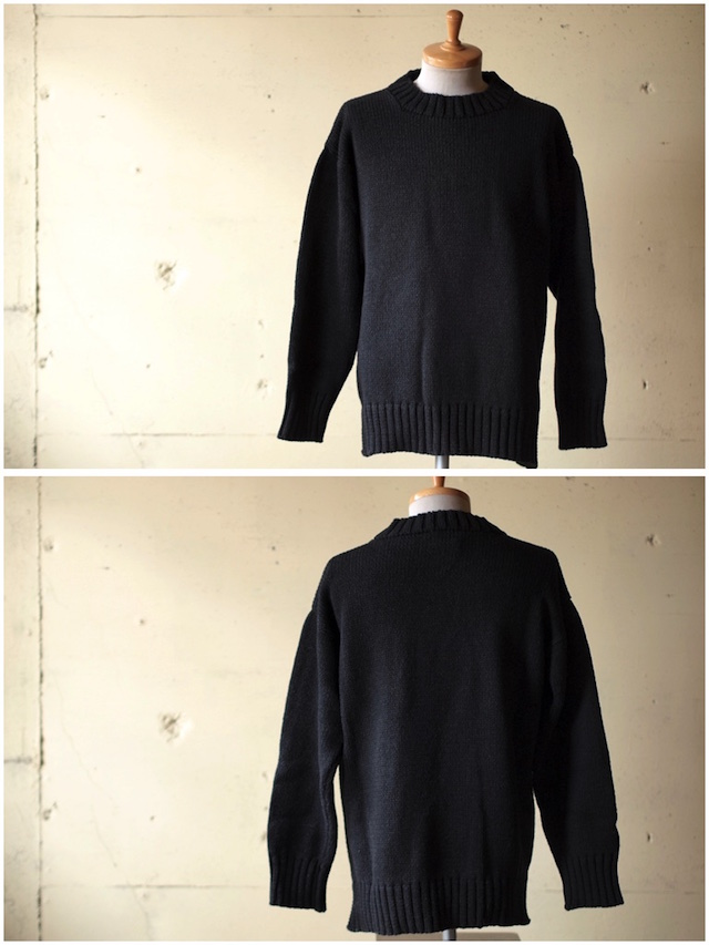 Deck Hand Indigo Cotton Crew Neck Sweater Black Indigo-2