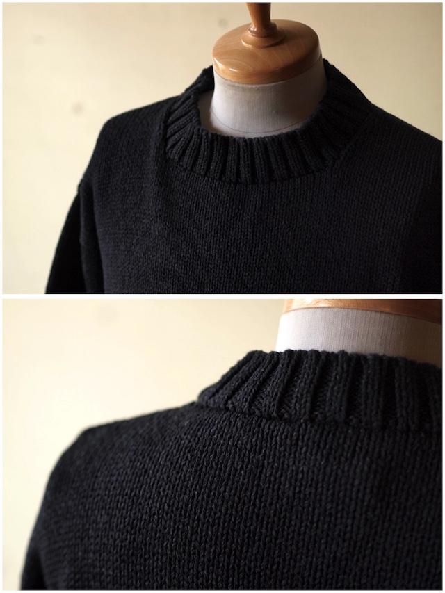 Deck Hand Indigo Cotton Crew Neck Sweater Black Indigo-3