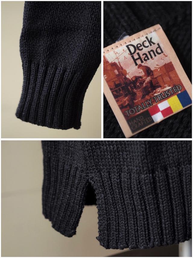 Deck Hand Indigo Cotton Crew Neck Sweater Black Indigo-4