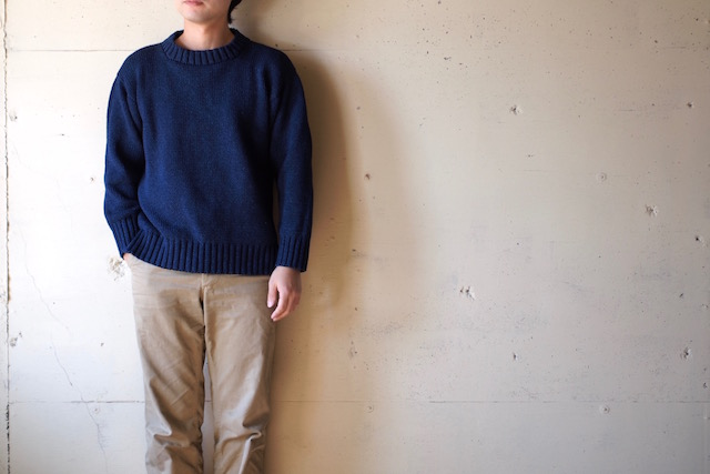 Deck Hand Indigo Cotton Crew Neck Sweater Dark Indigo-2