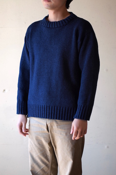 Deck Hand Indigo Cotton Crew Neck Sweater Dark Indigo-3