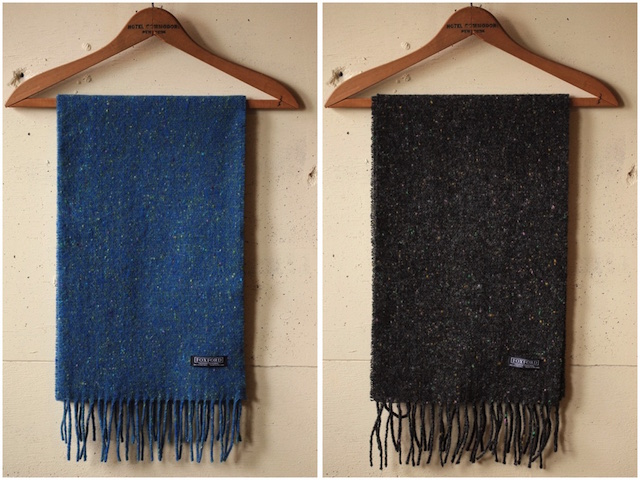 FOXFORD Wool×Cashmere Scarf Charcoal Black/Blue-2