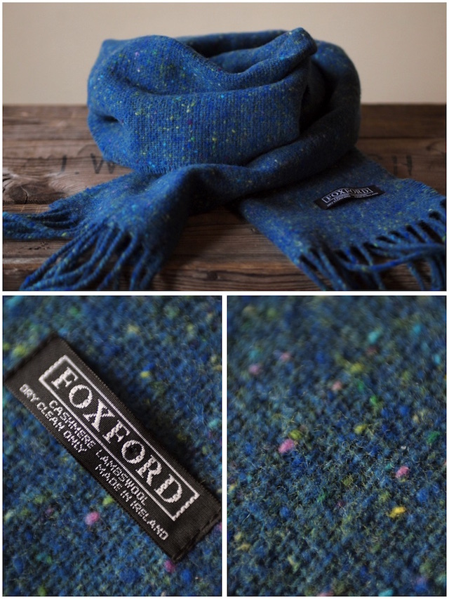 FOXFORD Wool×Cashmere Scarf Charcoal Black/Blue-3
