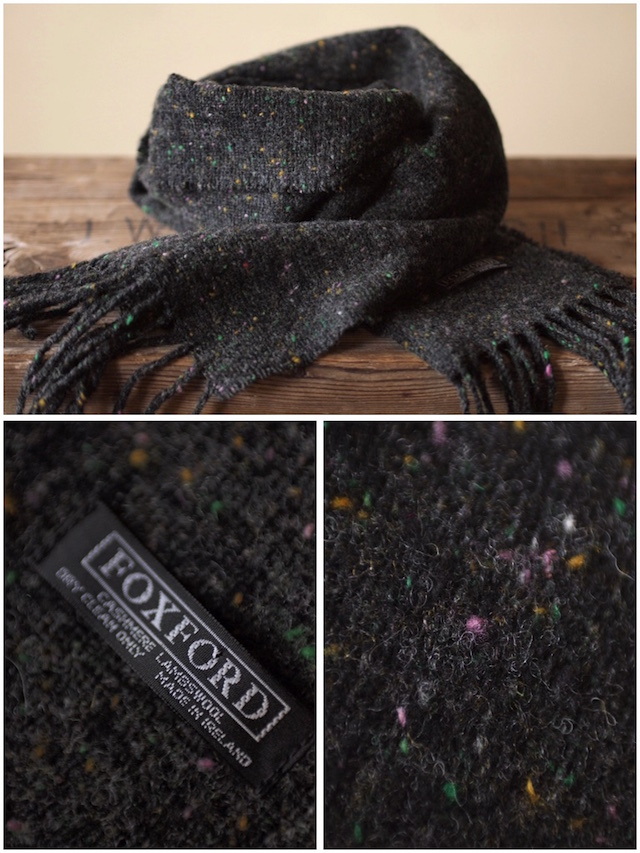 FOXFORD Wool×Cashmere Scarf Charcoal Black/Blue-4