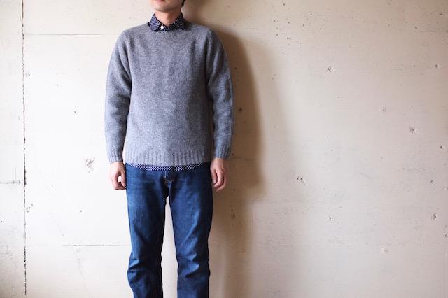 Harley of Scotland Shetland Sweater Crew Neck Medium Grey-2