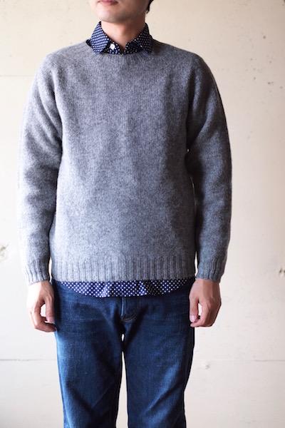 Harley of Scotland Shetland Sweater Crew Neck Medium Grey-3