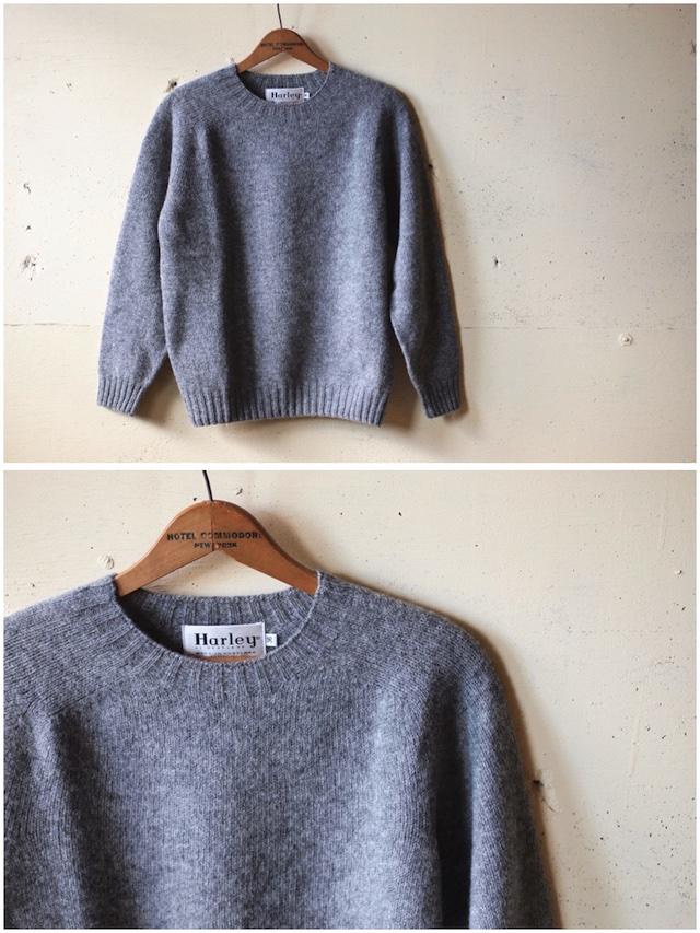 Harley of Scotland Shetland Sweater Crew Neck Medium Grey-4
