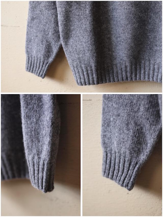Harley of Scotland Shetland Sweater Crew Neck Medium Grey-6