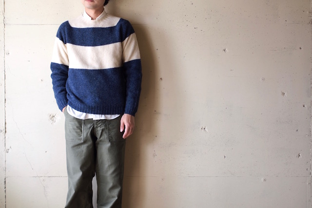Harley of Scotland Shetland Sweater Big Border Denim×Cream-2