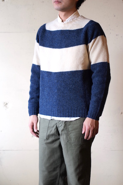 Harley of Scotland Shetland Sweater Big Border Denim×Cream-3