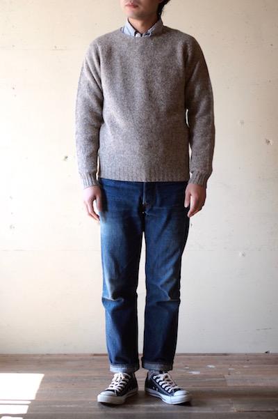 Harley of Scotland Shetland Sweater Crew Neck Mushroom-3