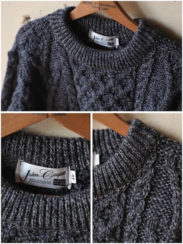 John Cooper Knitwear, Donnelly Aran Cable, Crew Neck, Grey Tweed-3