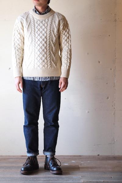 John Cooper Knitwear, Donnelly Aran Cable, Crew Neck, Pure Aran-2