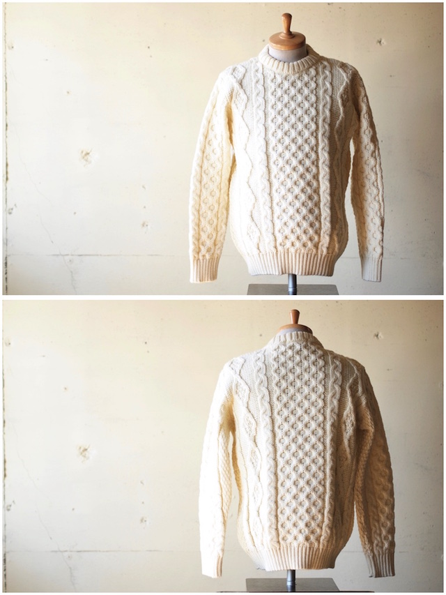 Kerry Woollen Mills Aran Cable Crew Neck Sweater Pure Aran-2