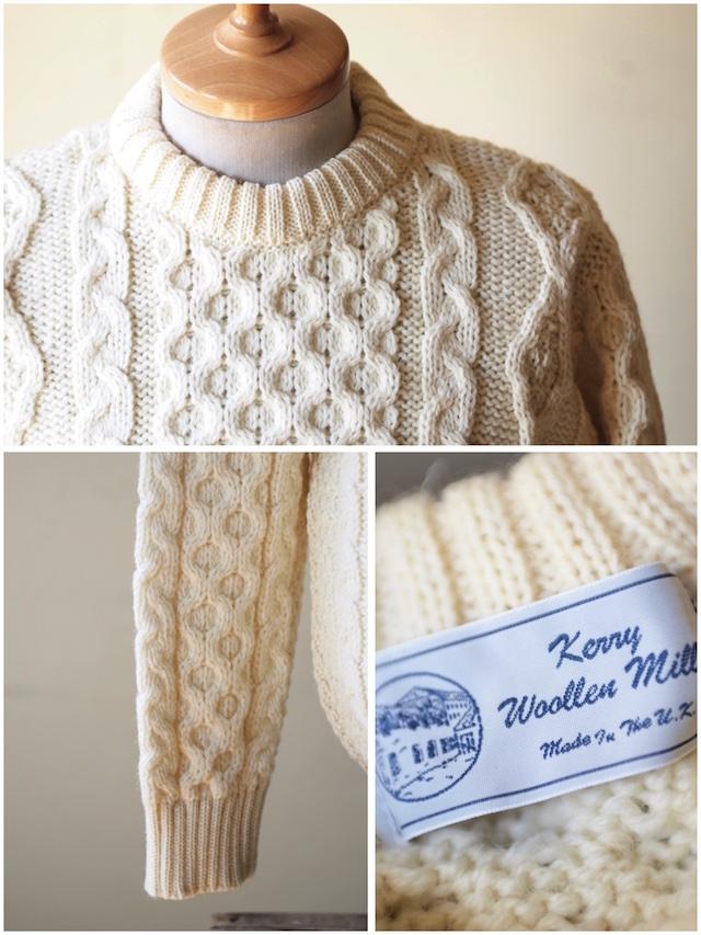 Kerry Woollen Mills Aran Cable Crew Neck Sweater Pure Aran-3