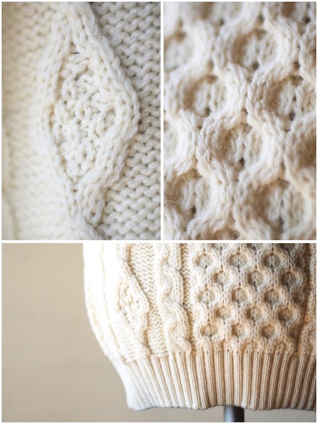 Kerry Woollen Mills Aran Cable Crew Neck Sweater Pure Aran-4