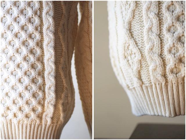 Kerry Woollen Mills Aran Cable Crew Neck Sweater Pure Aran-5
