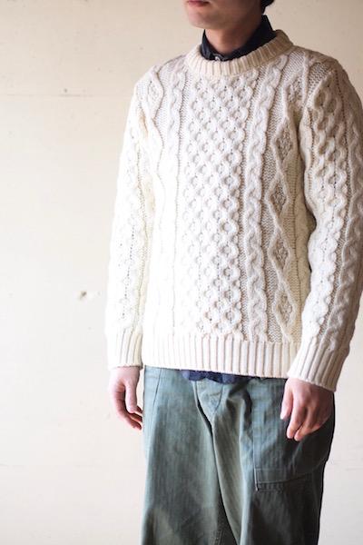 Kerry Woollen Mills Aran Cable Crew Neck Sweater Pure Aran-8