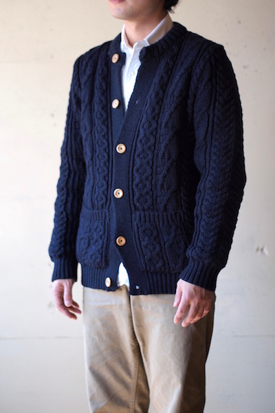 Kerry Woollen Mills Aran Cable Collarless Cardigan Navy Blue-3