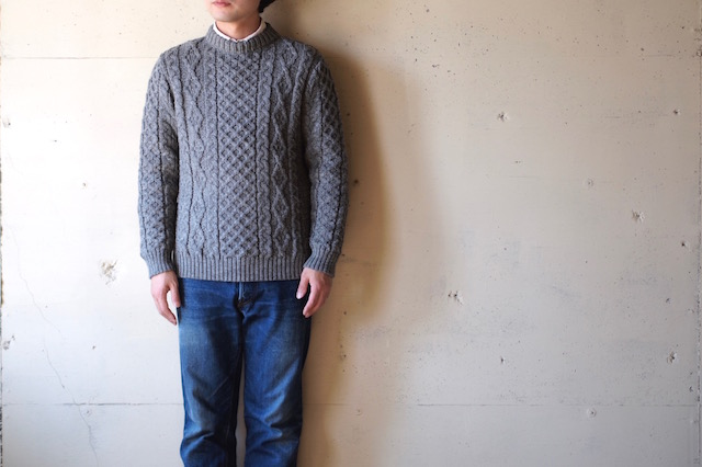 Kerry Woollen Mills Aran Cable Crew Neck Sweater LITE Steel-2