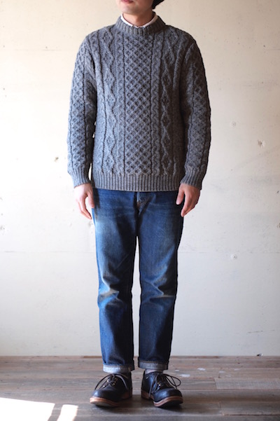 Kerry Woollen Mills Aran Cable Crew Neck Sweater LITE Steel-3