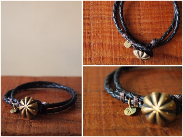 Button Works (ボタンワークス) Leather Bracelet-Blk