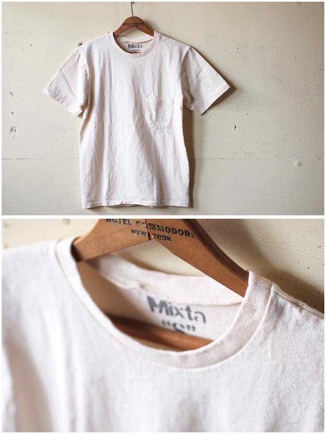 Mixta (ミクスタ) Crew Neck Pocket T-Shirt, Natural-2