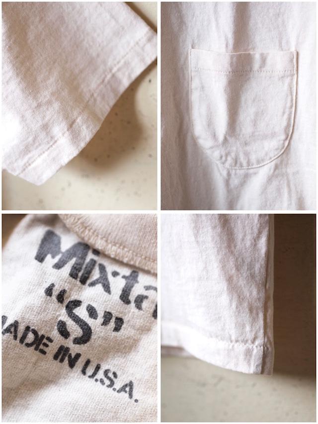 Mixta (ミクスタ) Crew Neck Pocket T-Shirt, Natural-3