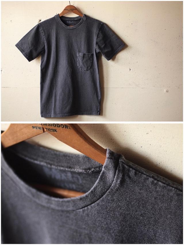 Mixta (ミクスタ) Crew Neck Pocket T-Shirt, Vintage Black-2