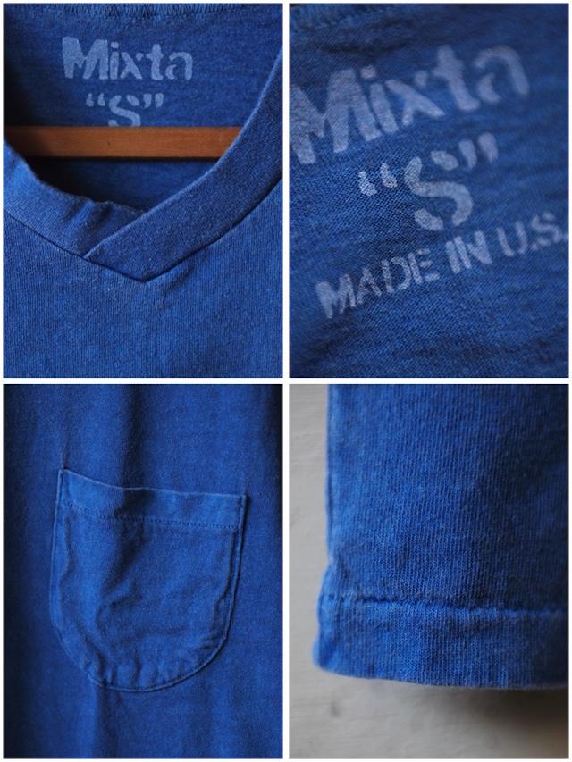 Mixta V-Neck Pocket Tee Denim Blue-3
