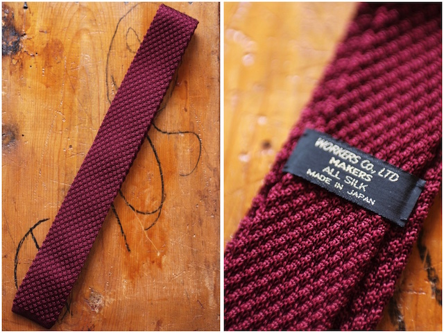 WORKERS Silk Knit Tie Green, Burgundy-2
