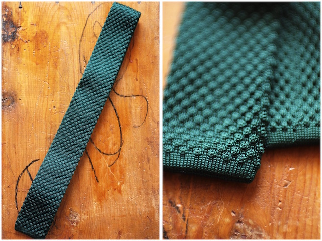 WORKERS Silk Knit Tie Green, Burgundy-3