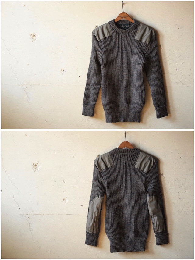 Wooly Back Commando Sweater Crew Neck with Patches Derby Tweed-2