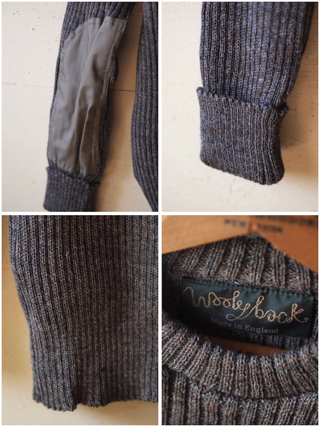 Wooly Back Commando Sweater Crew Neck with Patches Derby Tweed-4