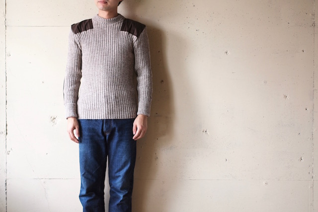Wooly Back Commando Sweater Crew Neck with Patches Heather Mix-2