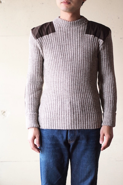 Wooly Back Commando Sweater Crew Neck with Patches Heather Mix-3