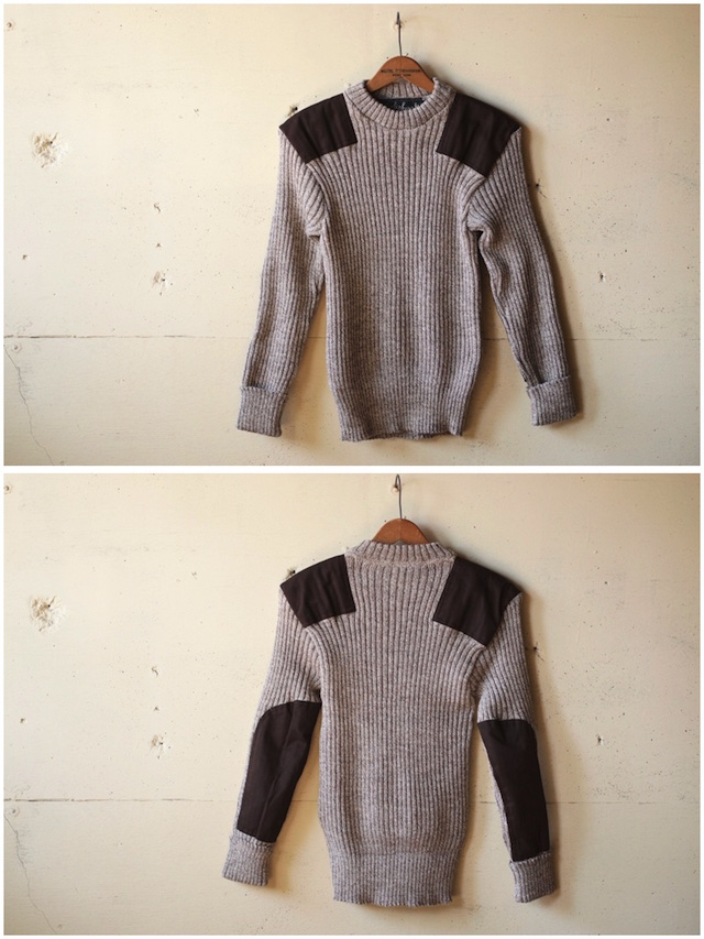 Wooly Back Commando Sweater Crew Neck with Patches Heather Mix-4
