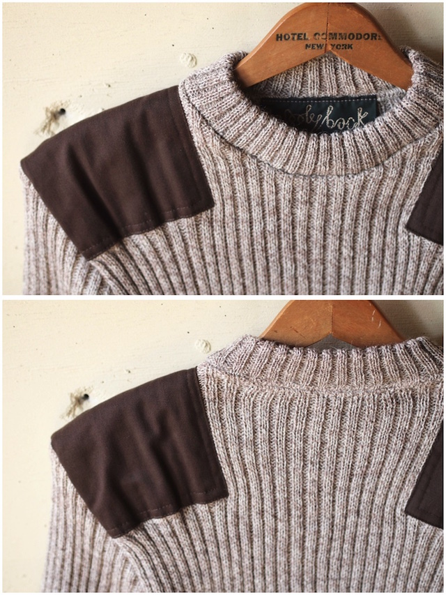 Wooly Back Commando Sweater Crew Neck with Patches Heather Mix-5