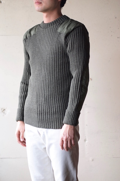 Wooly Back Commando Sweater Crew Neck with Patches Olive-3