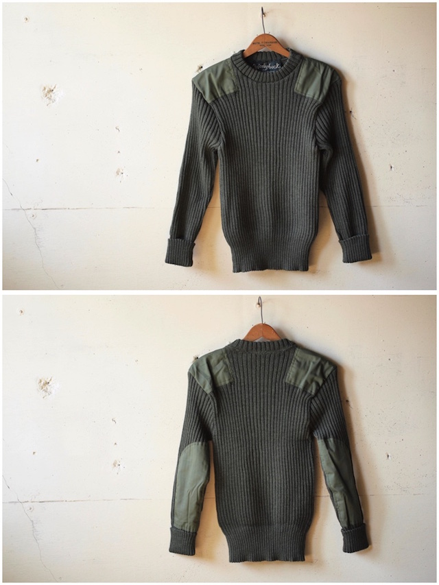 Wooly Back Commando Sweater Crew Neck with Patches Olive-4
