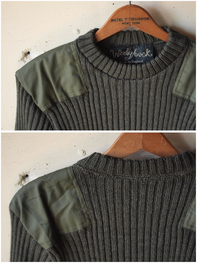 Wooly Back Commando Sweater Crew Neck with Patches Olive-5