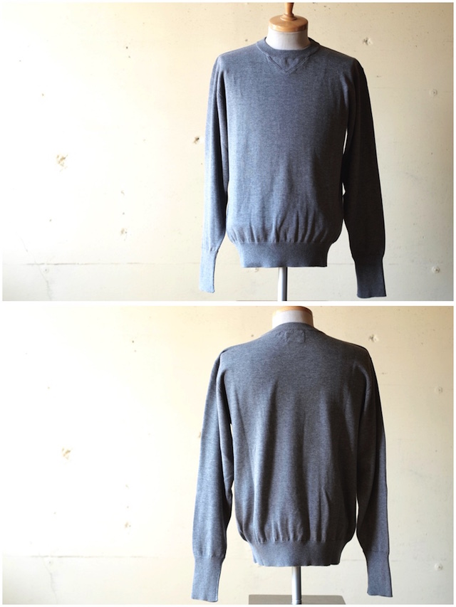 WORKERS 14Gauge Cotton Knit Sweater Heather Grey-2