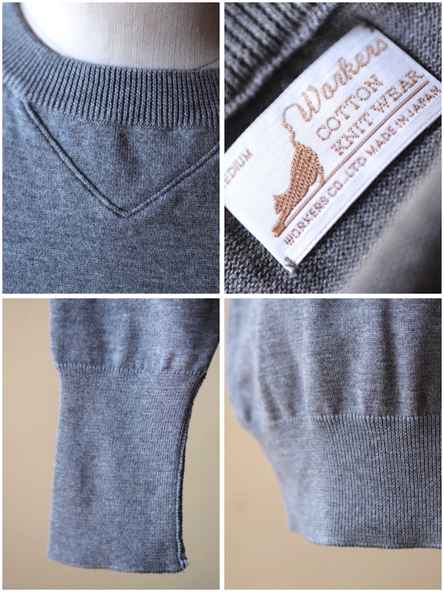 WORKERS 14Gauge Cotton Knit Sweater Heather Grey-4