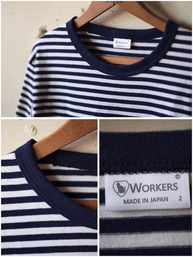 WORKERS 6oz Border Tee Half Sleeve Ecru×Navy-3