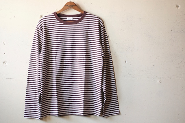 WORKERS 6oz Border Tee Long Sleeve Ecru×Brown-2