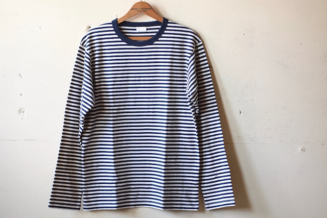WORKERS 6oz Border Tee Long Sleeve Ecru×Navy-2