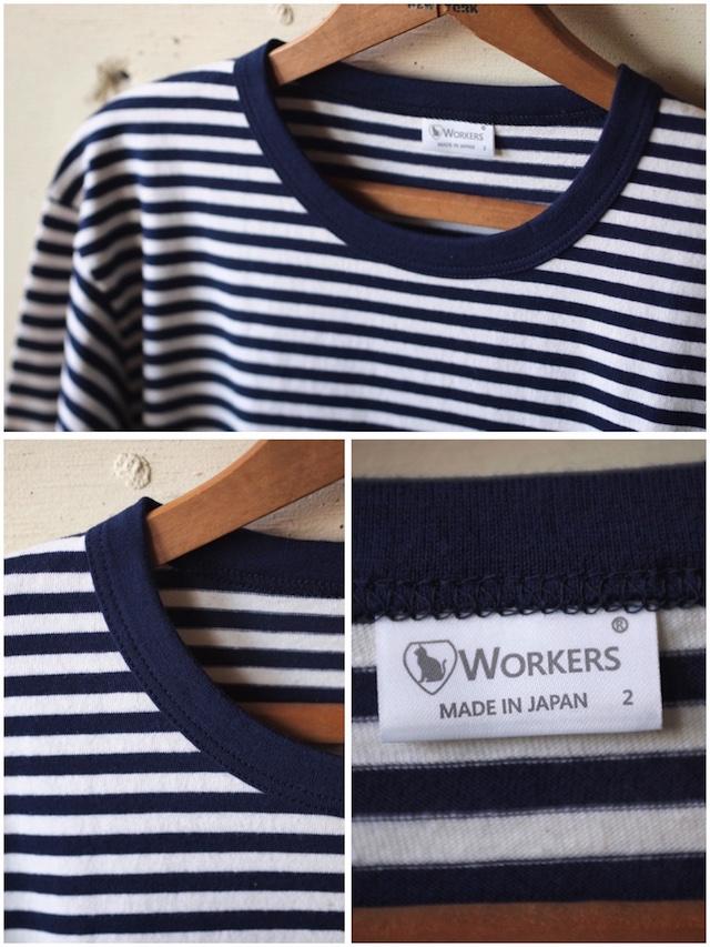 WORKERS 6oz Border Tee Long Sleeve Ecru×Navy-3