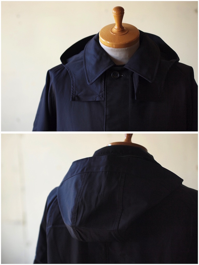 WORKERS Bal Collar Coat Gabardine Navy-3