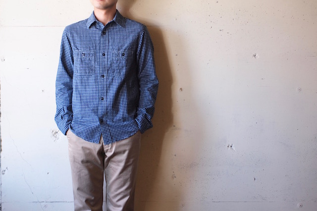 WORKERS Basic Work Shirt 3.5oz Indigo Check-2