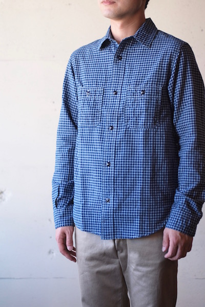 WORKERS Basic Work Shirt 3.5oz Indigo Check-3